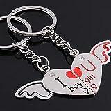 ryadia (TM) Couples porte-clés romantique cœur Sweet Love ailes d'ange Musique Porte-Clés porte-clefs pour les amoureux de cadeau llavero EE