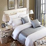 OSVINO Bettläufer Jacquard Modern Luxus Glatt Dekorative Bettdecken für Schlafzimmer Hotelzimmer, Grau 210x 50cm für 150cm Bett