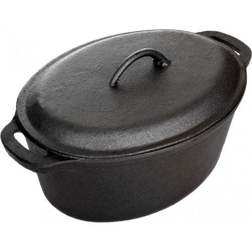 Cajun Cookware Pots 5 Quart Seasoned Cast Iron Oval Casserole Pot by Cajun Cookware (5 Qt Auflaufform)
