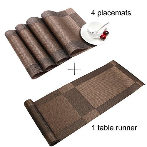 Homcomoda set di 1 runner da tavola in vinile e 4 tovagliette per tavolo da pranzo / cucina (marrone)