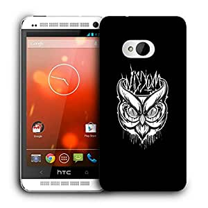 Snoogg Abstract Owl Face Designer Protective Back Case Cover For HTC ONE M7