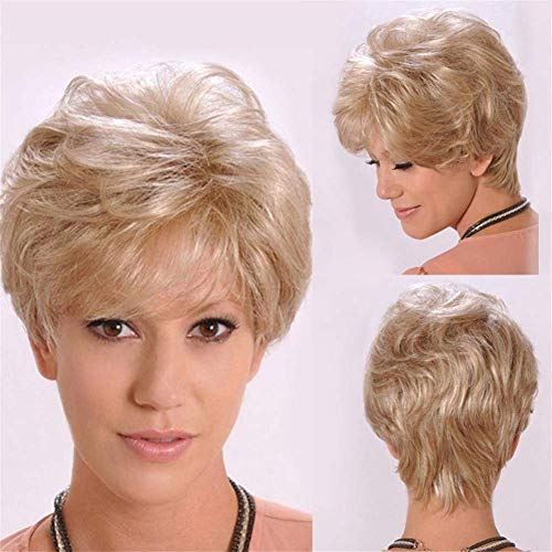 FFwig Kurz Blond Gelockt Perücke Natürlich Wellig Flauschige Synthetik Haar Natürlich Schauen zum Alt Mitte Alter Frau und Oma, ()