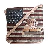 angesagte , witzige Tasche, Handtasche, Umhängetasche mit Flagge und Bulldogge