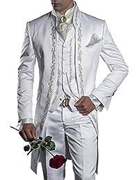 Suit Me retro de los hombres de largo 3 piezas de traje Stand-Up Collar Bordado traje de smoking trajes chaleco pantalones