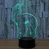 3D LED Schreibtischlampe Nachtlicht Dekolampe Einhorn Lampe Illusion Täuschung 7 Farbwechsel mit Acryl Flat & ABS Base & USB-Ladegerät für Halloween Party und Weihnachtsgeschenk und Deko