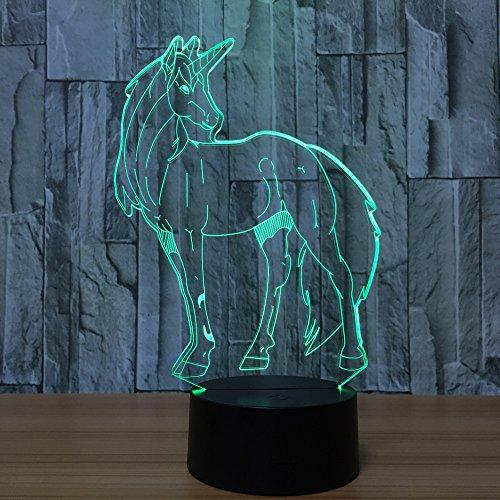 (3D LED Schreibtischlampe Nachtlicht Dekolampe Einhorn Lampe Illusion Täuschung 7 Farbwechsel mit Acryl Flat & ABS Base & USB-Ladegerät für Halloween Party und Weihnachtsgeschenk und Deko)