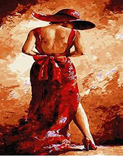 6100 Kit (PAINTINGLEE Dame In Rot 16 * 20 Zoll-DIY Vorgedruckte Leinwand Ölgemälde-Erwachsene Kinder Geschenk-Malen Kits Hauptdekorationen (kein Rahmen))