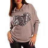 Young-Fashion Damen Kapuzen Pullover Herz Pailletten, Farbe:Beige;Größe:M/L