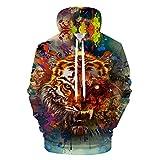 Kunst Tiger 3D-Hoodie Men Hoody Trainingsanzug Pullover Sweatshirt Harajuku Streetwear Animal Coat Hiphop LMS 527 M
