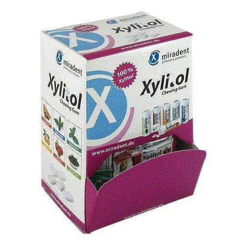 MIRADENT Zahnpflegekaugummi Xylitol Schüttbox, 200 Stück Alle Sorten - Zimt Antibakteriell