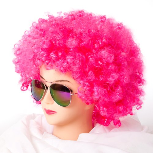 Pink Kostüm Perücke - Cabaret Perücken Bob Afro Perücke Karneval Fasching Kostüm Chique Babe Locken (Afro Pink)