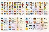 Kigima 114 Aufkleber Sticker Namens-Etiketten rechteckig Jonas verschiedene Größen und Tiermotive