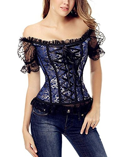 Sitengle Donna Corsetto Bustino Shapewear Modellante Cincher Slim Sexy Body Shaper Respirabile Elastico in Vita Pizzo Corsetti Blu