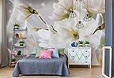 Wallsticker Warehouse Magnolia Blumen Silber Vlies Fototapete Fotomural - Wandbild - Tapete - 254cm x 184cm / 2 Teilig - Gedrückt auf 130gsm Vlies - 3508V4 - Moderne Blumen, Natur, und Spiralen