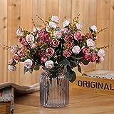 Luyue, Künstliche Seiden-Blumen-Sträuße mit 7Stielen und 21 Rosen, 2Stück Pink coffee - 3