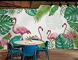 JING DIAN-Fototapete Von Hand Bemalt, Tropische Regenwälder In Südostasien Flamingo Tv Hintergrund Tapete Tapete, Die Für Den Hintergrund Des Schlafsofa Große Wandmalereien Schlafzimmer Wohnzimmer Esszimmer Wand Dekoration 315*232 Cm (B*H)