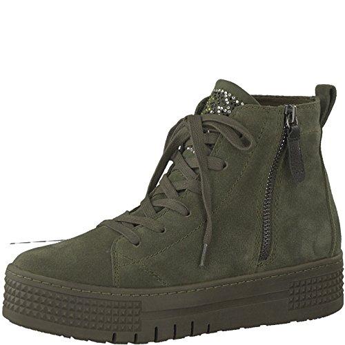 Tamaris Damen Plateaustiefeletten 25219-21,Frauen Stiefel,Boots,Halbstiefel,Plateau-Bootie,Nieten,Blockabsatz 4.5cm,Dark Olive,EU 37