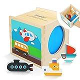 Peradix Sortierspielzeug Holzpuzzles Steckwürfel Kinder Sortier Kätschen Baby Steckspiel für 1 bis 3 Jahre (Verkehrsmittel)