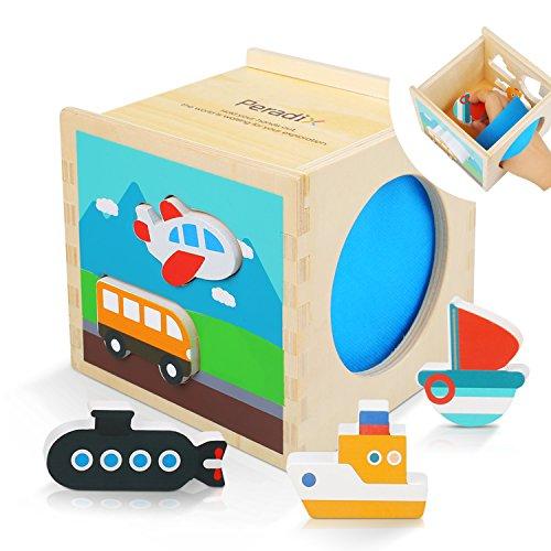 Peradix Cubo Actividades, de Madera, Juguete de Caja Cognitiva de Transporte Azul, Forma Caja Niños Bebé Juguetes Educativos Colorido Madera Geometría Puzzle Bloque de Construcción