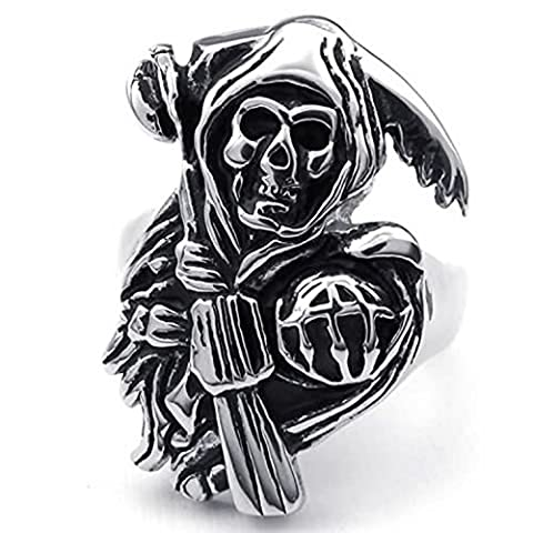MENDINO Jewellery Vintage Stainless Steel Band Casted Grim Reaper Skull Biker Mens Ring Colour Black Silver with Gift Pouth
