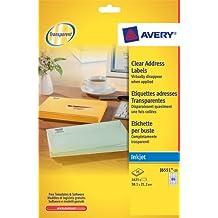 Avery J8551-25 - Etiquetas adhesivas para impresoras (25 hojas), transparentes