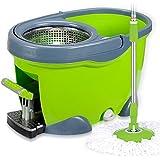 Quatre Roues Seau De Balai De Lavage Rotatif Pédale Automatique Vadrouille Pression De La Main,Green