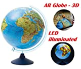 Exerz 32cm Relief Illuminated AR GLOBE with Cable Free LED Light- Physical/Political Dual Map- Augmented Reality App iOS Android