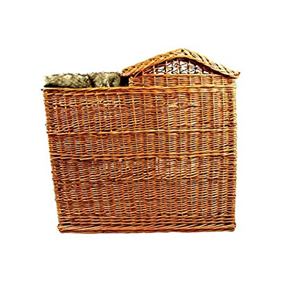 Michur Uncle Tom's Hut beige wicker house cave bed for dogs cats incl. Pillows 8