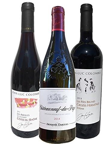 Grands Vins Terroir du Rhône - Chateauneuf-du-Pape - Crozes Hermitage Les Fées Brunes Rouge - Côtes du Rhône Les Abeilles Rouge - 3 * 75 Cl