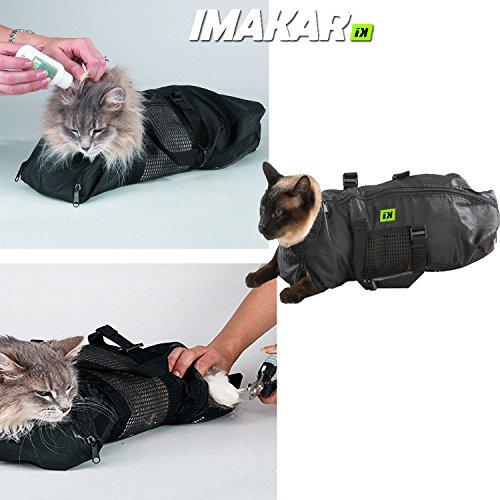 ✔ IMAKAR® Katze Pflege Beutel Multifunktions . Mit beständigem Polyesternetz in der Mitte und 4 für die Beine Öffnungen, wie Beutel beim Transport Katze verwendet, Katze Tierarzt Beuteln, Ou Katze Waschbeutel, schützen Sie sich durch Ihre Katze zu waschen. (Größe M)