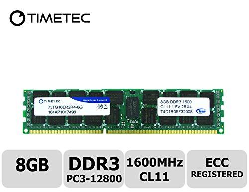 Timetec Hynix IC 8GB DDR3 1600MHz PC3-12800 Registered ECC 1.5V CL11 2Rx4 Dual Rank 240 Pin RDIMM Server Memoria RAM modulo di aggiornamento T4D6R05H32002