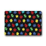 coloré sensibilisation à l'autisme pièces de puzzle en caoutchouc antidérapant Tapis de porte d'entrée Paillasson 59,9x 39,9cm