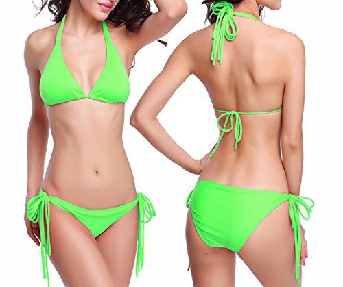 Damen Sommer Strand Poly Brust Bikini sexy vielseitigen Multi-Seil Bikinis Bikini suit Push Up Badeanzug Bademode Badebekleidung Apfelgrün