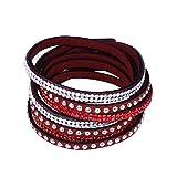 ACVIP Unisex Damen Herren Wickelarmband Lederarmband mit 2-Reihe Nieten (Rot)