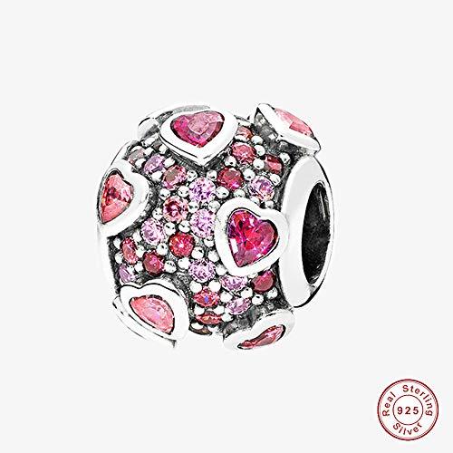 Cooltaste san valentino, esplosione di pink love cuore argento 925originale diy adatto per pandora braccialetti charm fashion jewelry