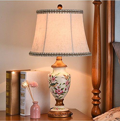 Uncle Sam LI- Amerikanischen Landhausstil Painted Tischlampe harz Licht Körper Tuch Lampenschirm Schlafzimmer Wohnzimmer Tischlampe (Farbe : D)