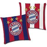 FC Bayern München Wende-Kissen Stripes 40 x 40 cm Fußball Rekordmeister Mia san Mia FCB Champions League Bundesliga Allianz Arena Fankissen Kuschelkissen Dekokissen Kopfkissen Polster z. Bettwäsche