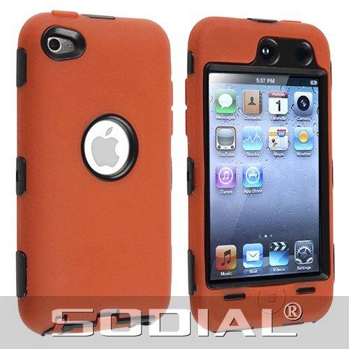 SODIAL(R) Funda Hibrida para iPod Touch 4G (Plastico Duro Negro /Silicona Naranja)