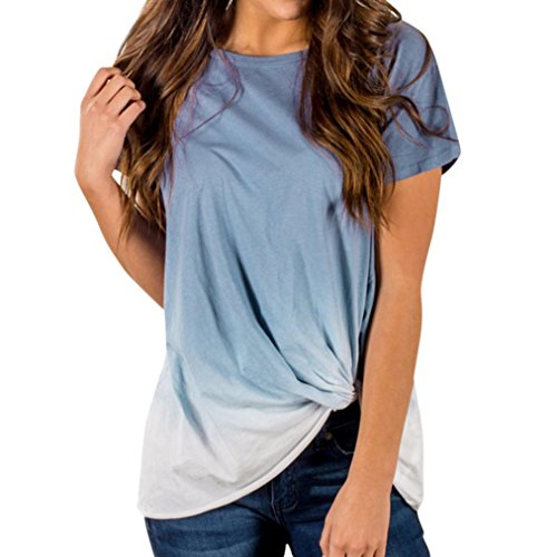 urzarm O- Ausschnitt Oberteil Farbverlauf Verknotete Tunika Tops Bluse Shirt Sportlich T- Shrit S-2XL (Blau, L) (Top-teen-halloween-kostüme)