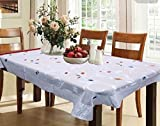 #6: Kuber Industries™ Dining Table Cover White Cloth Net For 6 Seater 60*90 Inches (Exclusive leaf Design) Code-VA5814