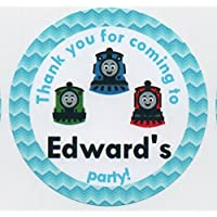 """Thomas the Tank Engine & Friends Design Birthday/Baby Shower/Christening""""Thank you for coming to."""" Stickers - PERSONALISED A4 Sheet of 15 x 50mm Round Party Bag Stickers"""