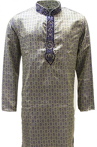 MKP3184 Blu e Kurta pigiama oro Uomo Indian Suit Bollywood Sherwani Blu