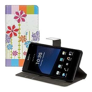 kwmobile Hülle für Sony Xperia Z1 Compact - Wallet Case Handy Schutzhülle Kunstleder - Handycover Klapphülle mit Kartenfach und Ständer Blumen Windrad Design Mehrfarbig Pink Weiß
