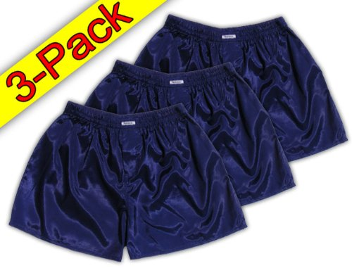 (L) Navy Blau 3er Pack Boxershort Boxershorts Herren Unterwäsche Satin Glanz Boxer Short