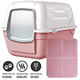 CatCentreⓇ Pink Hooded Large Litter Box Scoop Filter & Pink Mat Covered Tray Toilet Bundle
