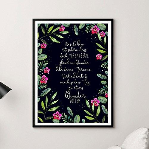 A3 Print Poster mit Blumen & Spruch Zauber Wunder Träume... Druck mit Zitat p132 ilka parey wandtattoo-welt® (Zitate Bilderrahmen)
