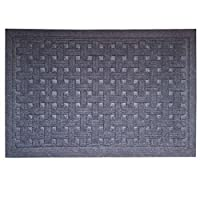 SafetyCare Heavy Duty Rubber Backed Gray Doormat - All Weather Conditions Door Mat - Durable Basket Weave Design Entrance Mat - 61 x 66 cm (24 x 16 in) - 1 Pack