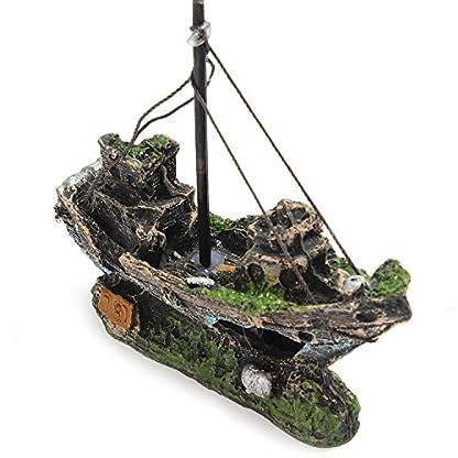 Lifelike Resin Pirate Ship Sailing Boat Sunk Corsair Ship Shipwreck for Aquarium Fish Tank Decoration 1
