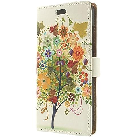 Cierre magnético y función JUJEO cuero con función de atril tipo libro para HTC Desire 616 - varios colores de árbol y frutas ilustración