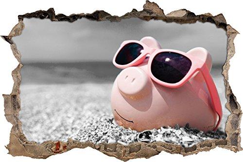 Pixxprint 3D_WD_5038_92x62 Cooles Sparschwein mit Sonnenbrille am Strand Wanddurchbruch 3D Wandtattoo, Vinyl, schwarz / weiß, 92 x 62 x 0,02 cm